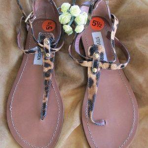 Steve Madden Leopard Design Thong Sandals